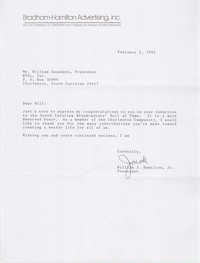 Letter from William J. Hamilton, Jr. to William Saunders, February 1, 1993