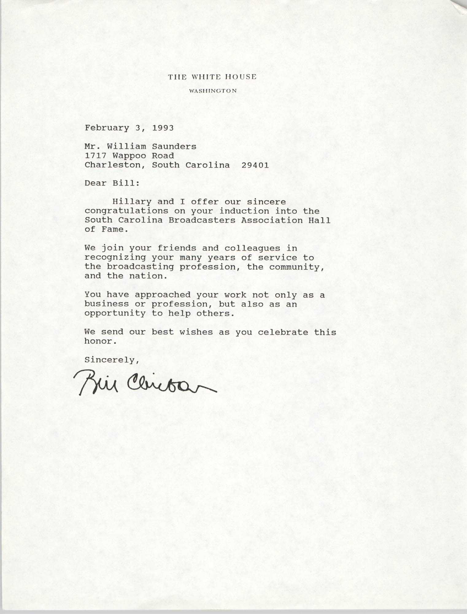 Letter from Bill Clinton to William Saunders, February 3, 1993
