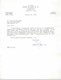 Letter from Gedney M. Howe, III to William Saunders, January 26, 1993
