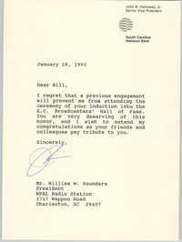 Letter from John B. Holloway, Jr. to William Saunders, January 28, 1993