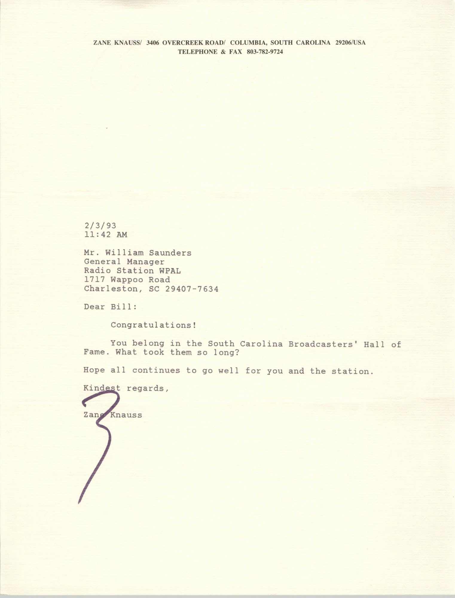 Letter from Zane Knauss to William Saunders, February 3, 1993