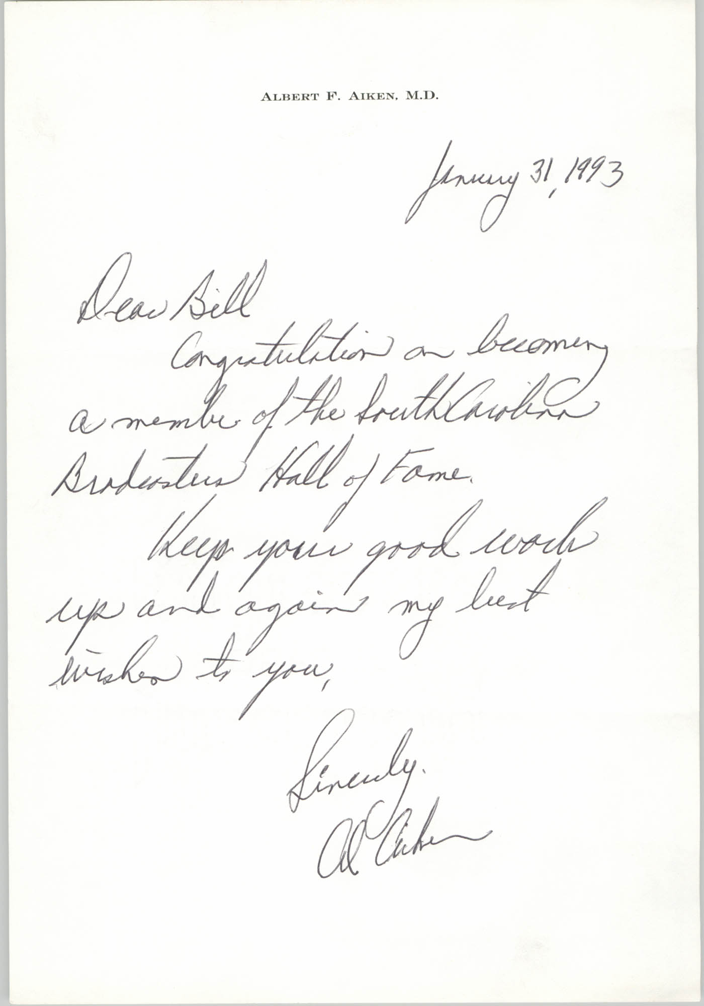 Letter from Albert F. Aiken to William Saunders, January 31, 1993