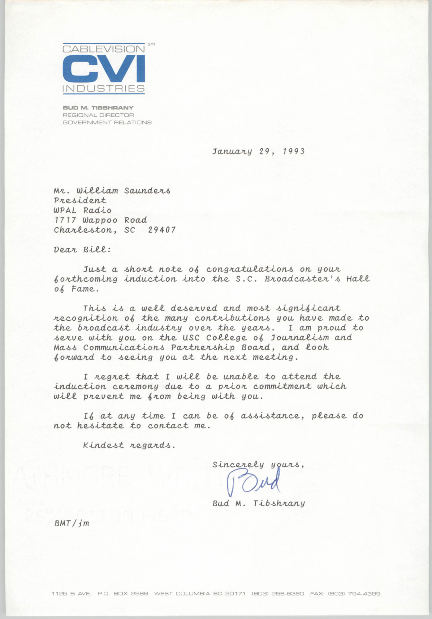 Letter from Bud M. Tibshrany to William Saunders, January 29, 1993