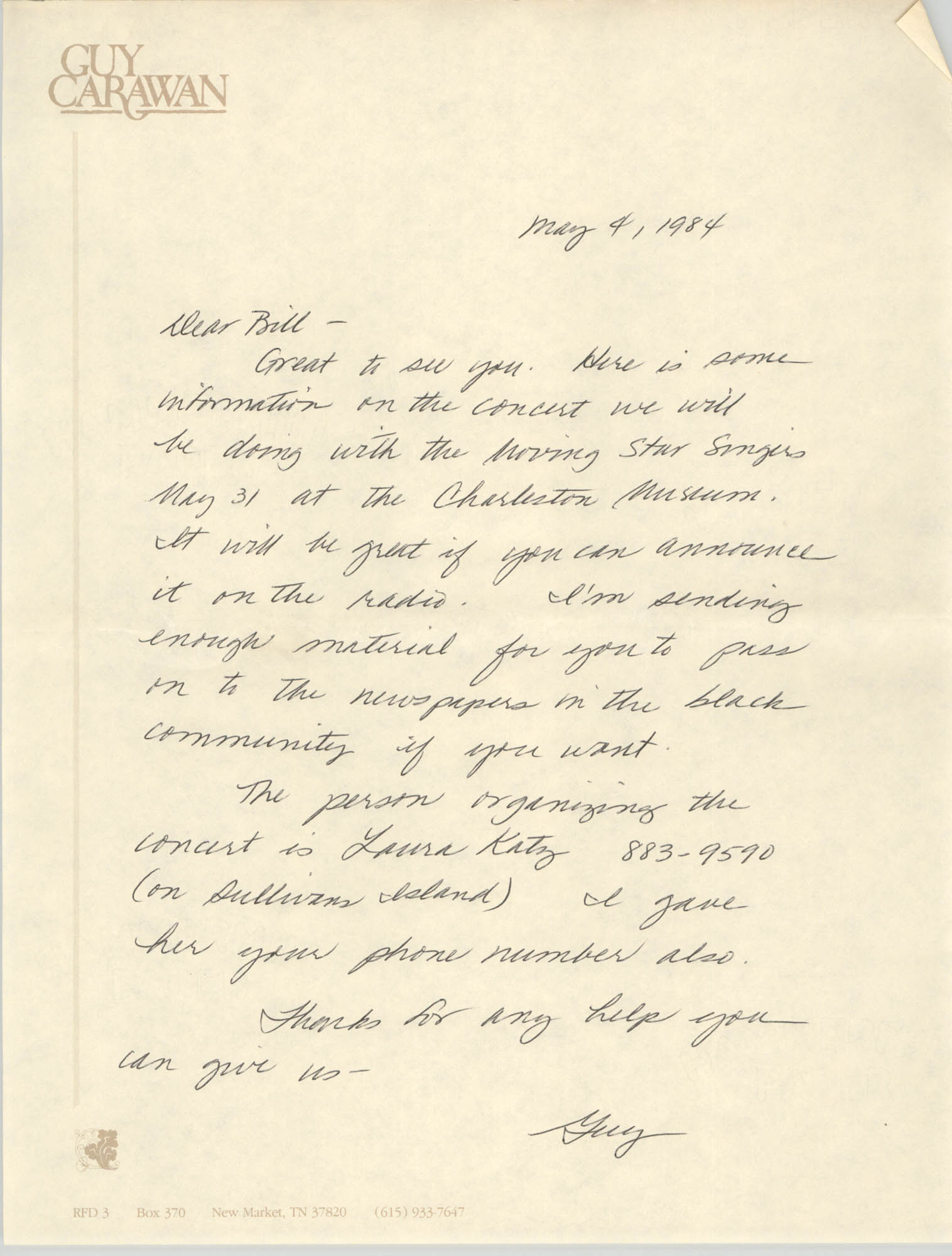 Letter from Guy Carawan to William Saunders, May 4, 1984
