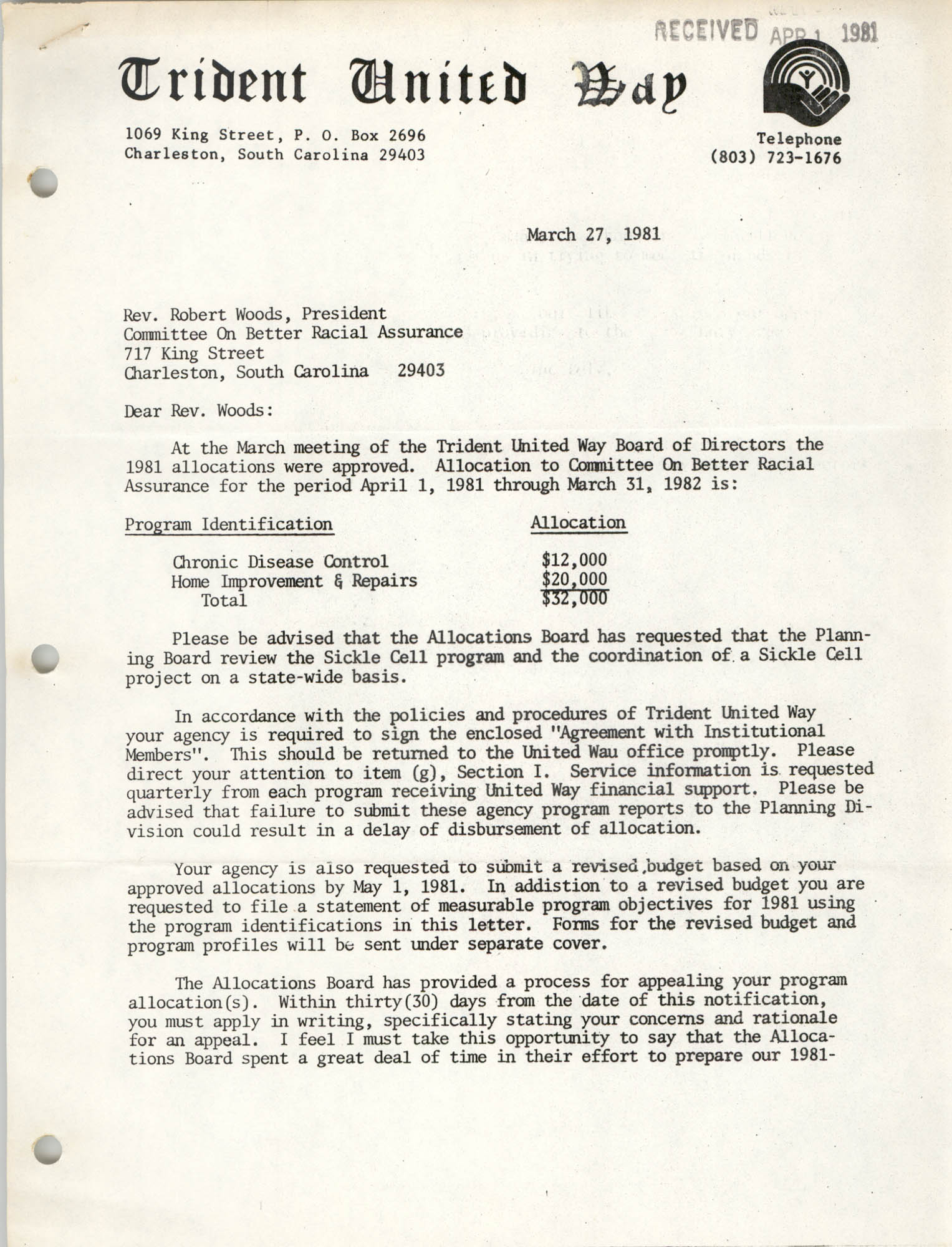 Letter from Hugh C. Lane, Jr. to Robert Woods, March 27, 1981