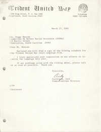 Letter from Cynthia R. Jett to Peggy Watson, March 27, 1981