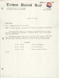 Trident United Way Memorandum, March 10, 1981