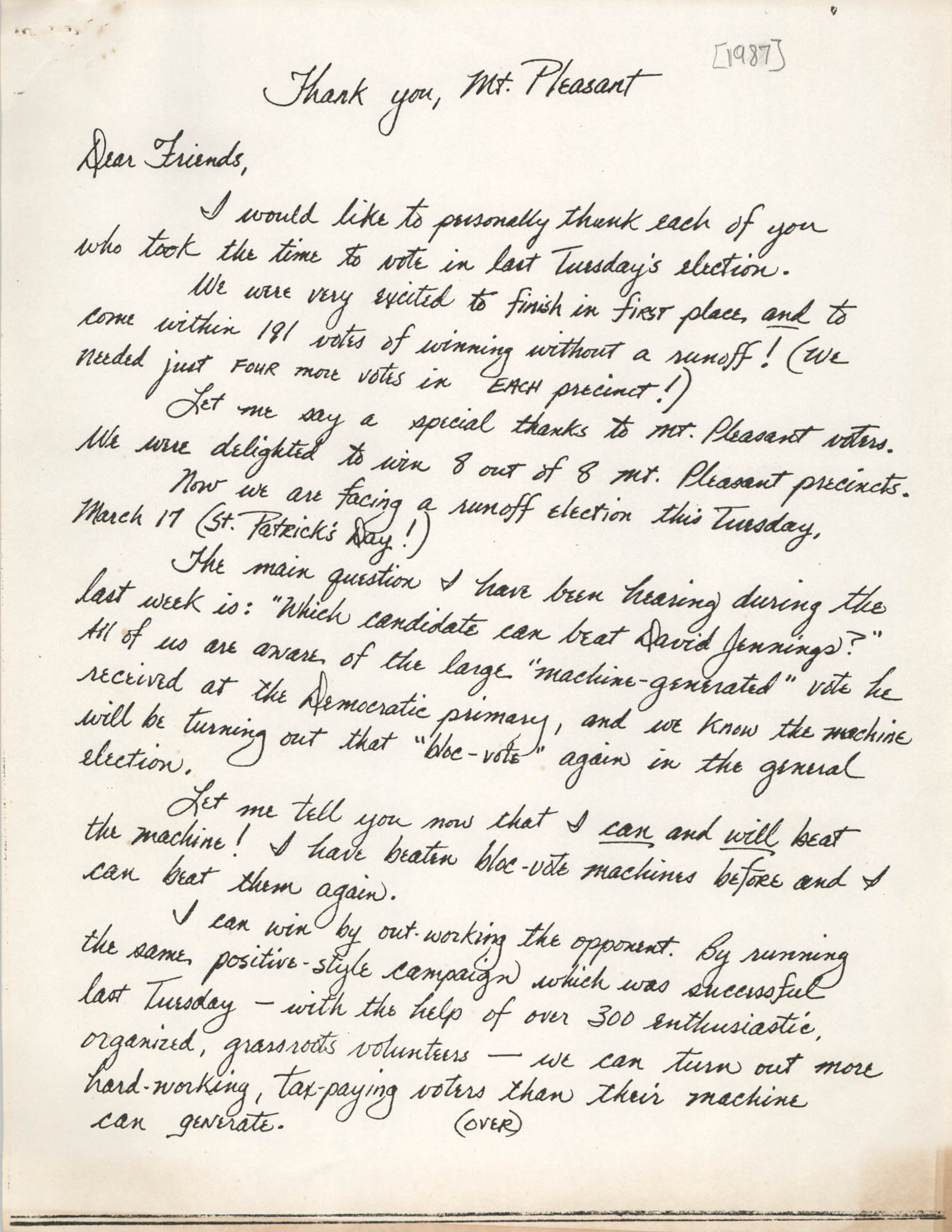 Letter from Sherry Martschink, 1987