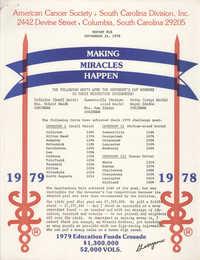 American Cancer Society, South Carolina Division, Inc. Report #18, September 21, 1979