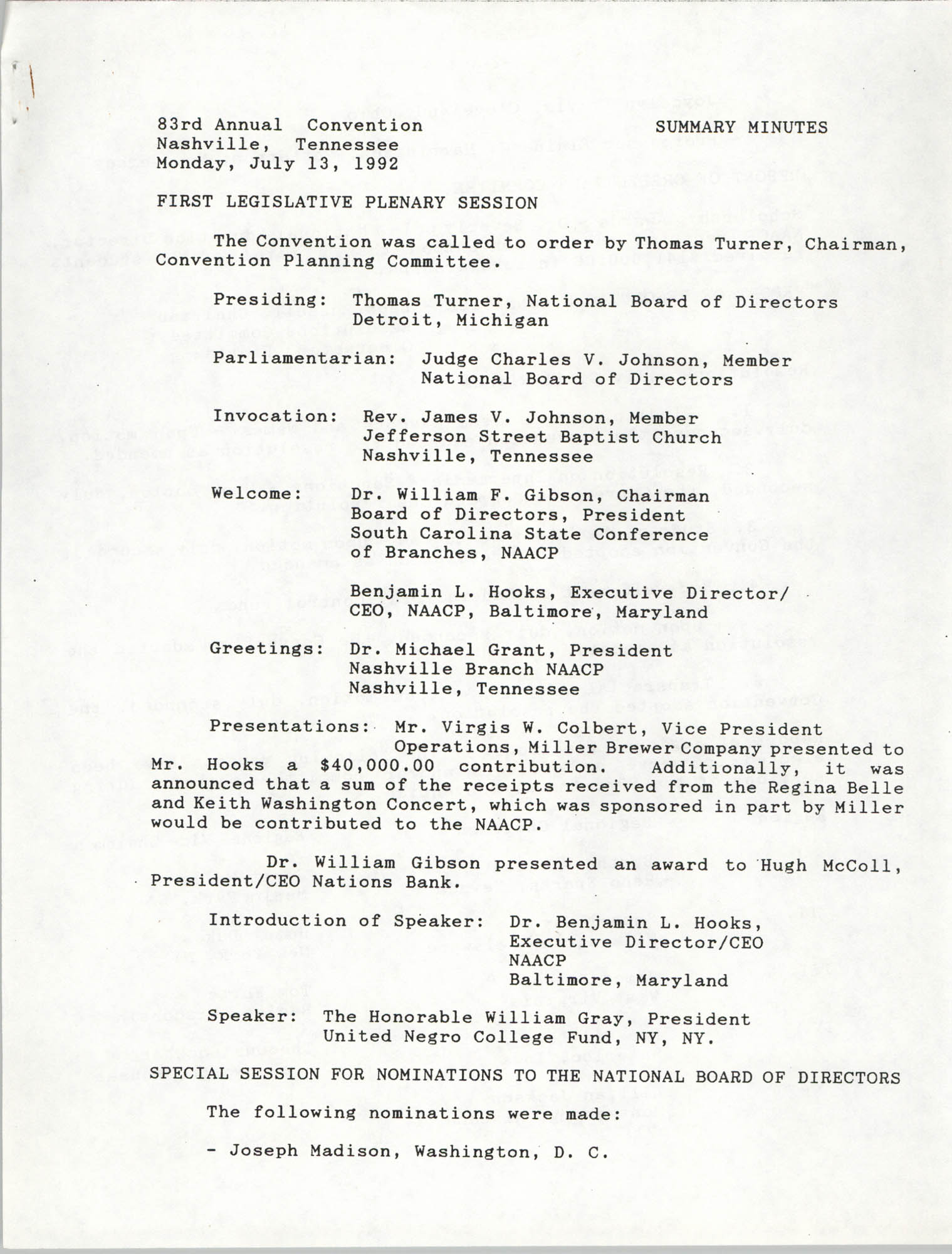 NAACP 83rd Annual Convention Summary Minutes, July 13, 1992