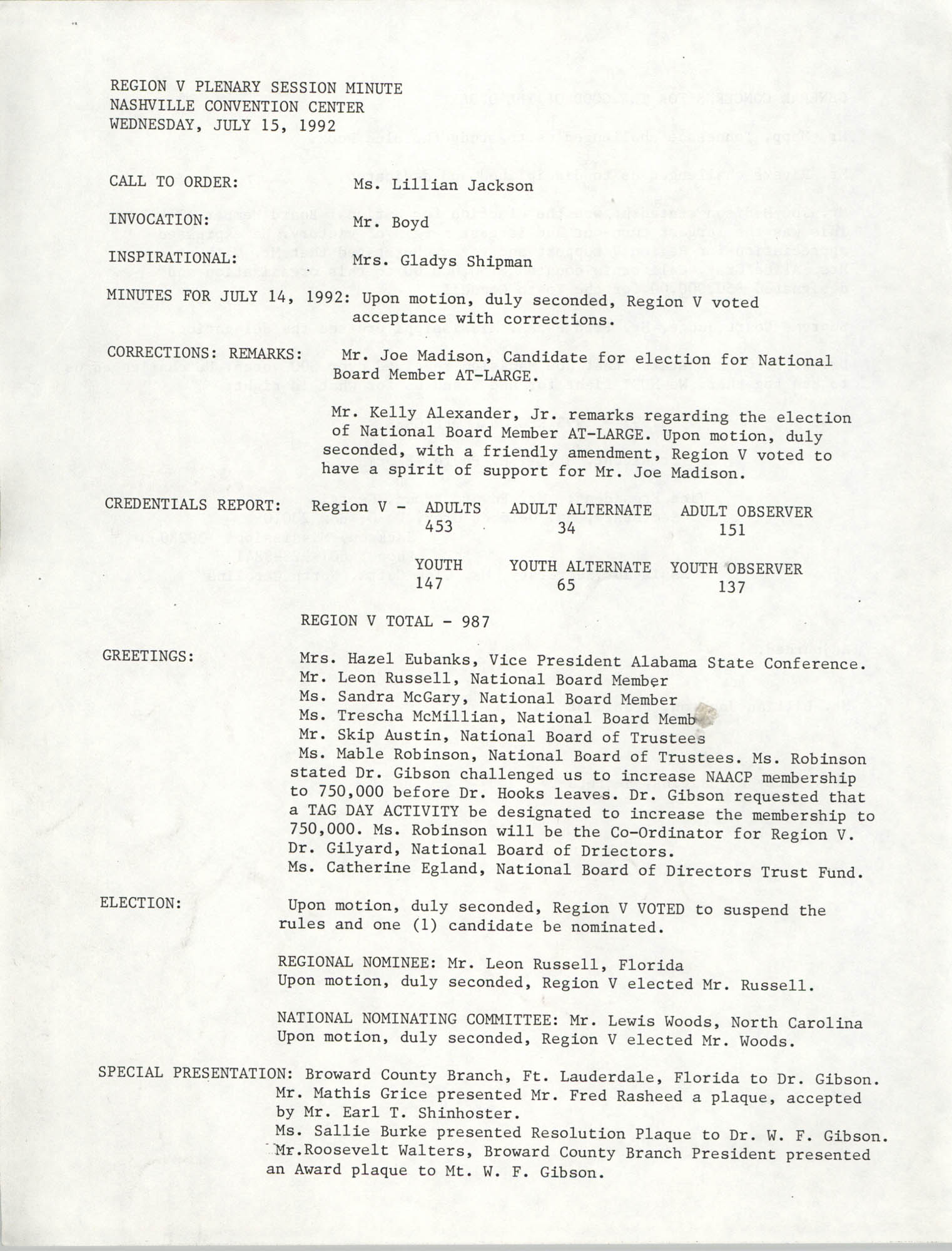 Region V Plenary Session Minutes, July 15, 1992