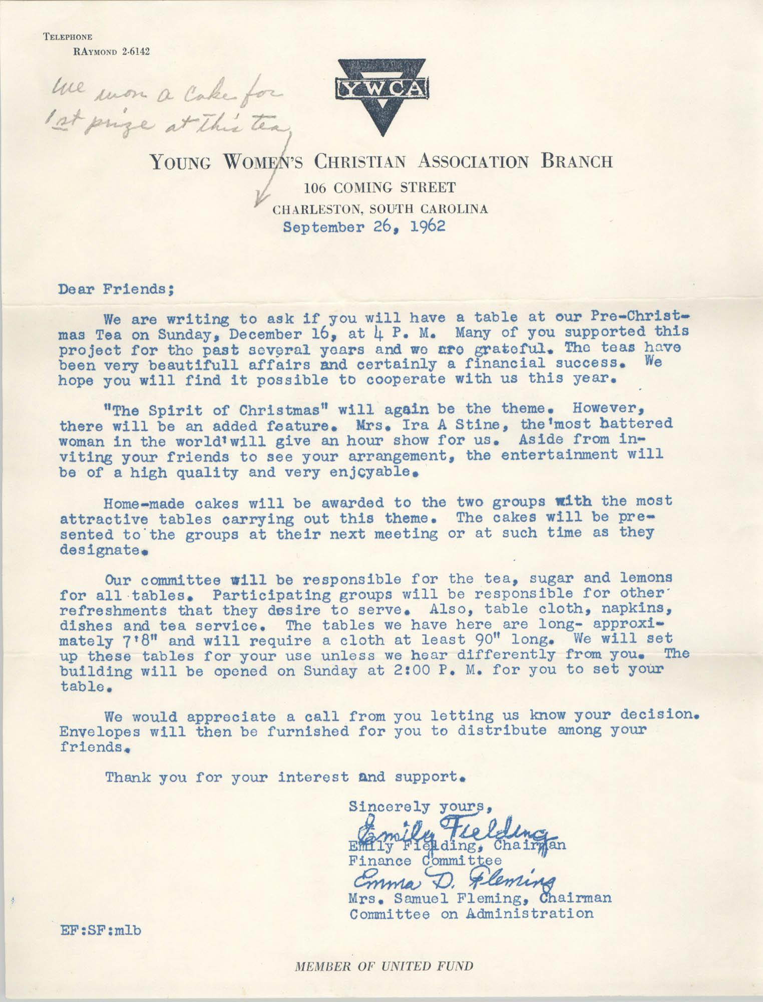 Letter from Emily Fielding and Emma Fleming, September 26, 1962