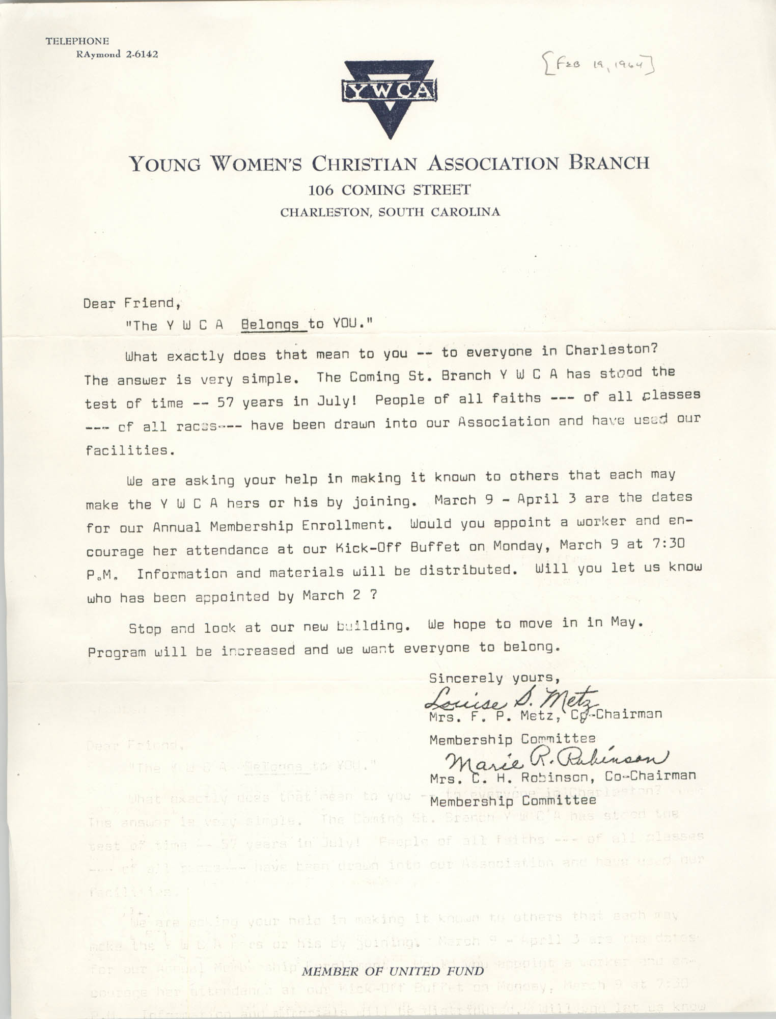 Letter from Louise Metz and Marie R. Robinson, February 19, 1964