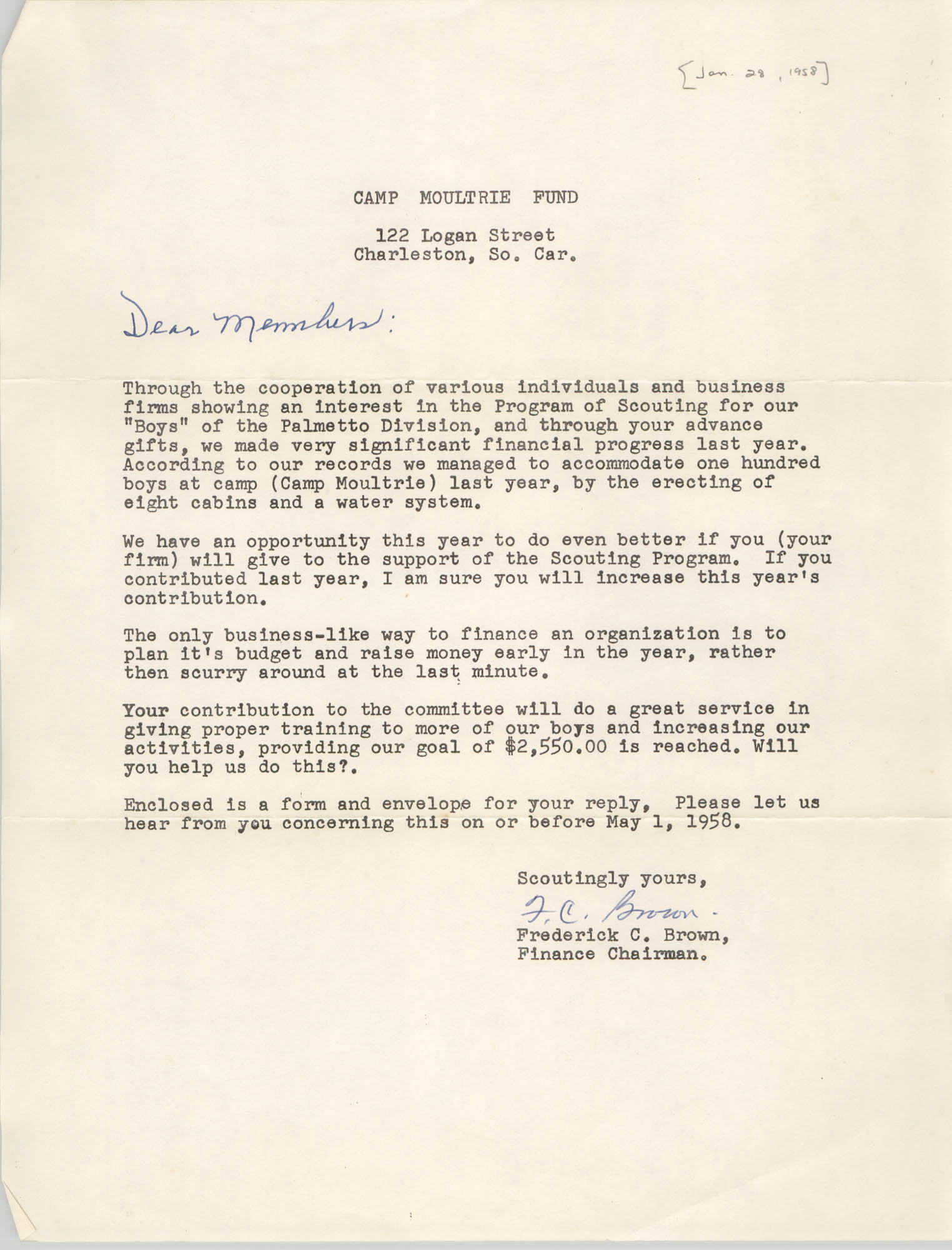Letter from Frederick C. Brown, January 28, 1958