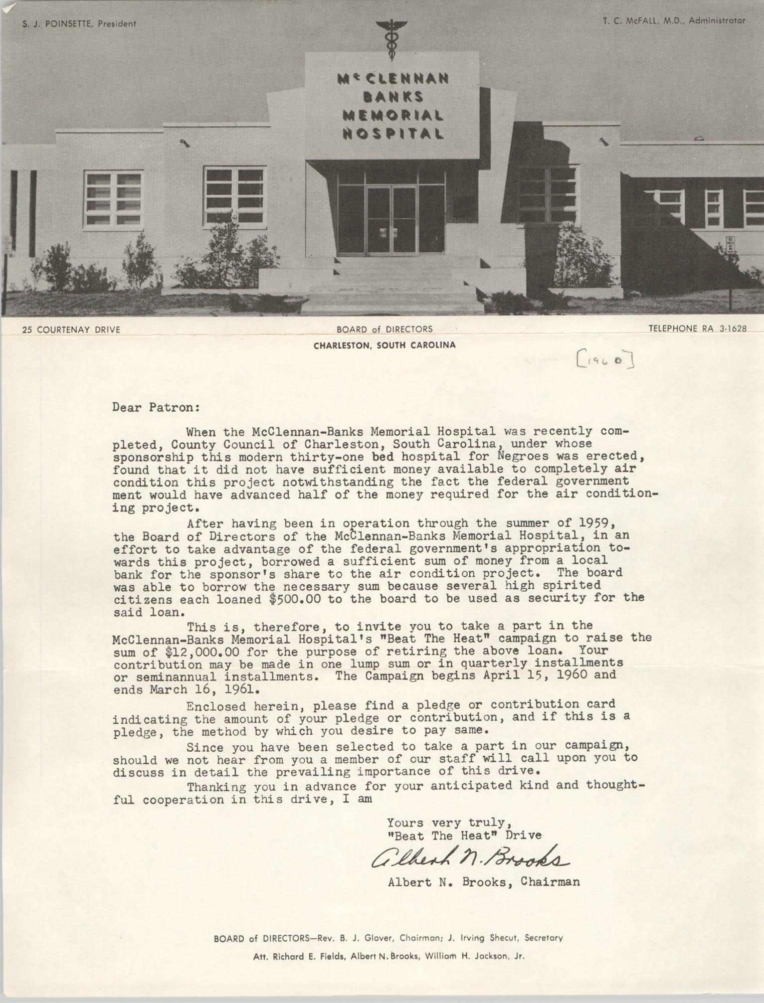 Letter from Albert N. Brooks, 1960