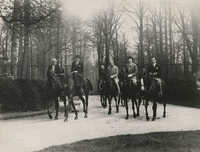Mario Pansa and unidentified persons astride horses, Photograph 3