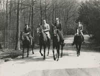 Mario Pansa and unidentified persons astride horses, Photograph 2