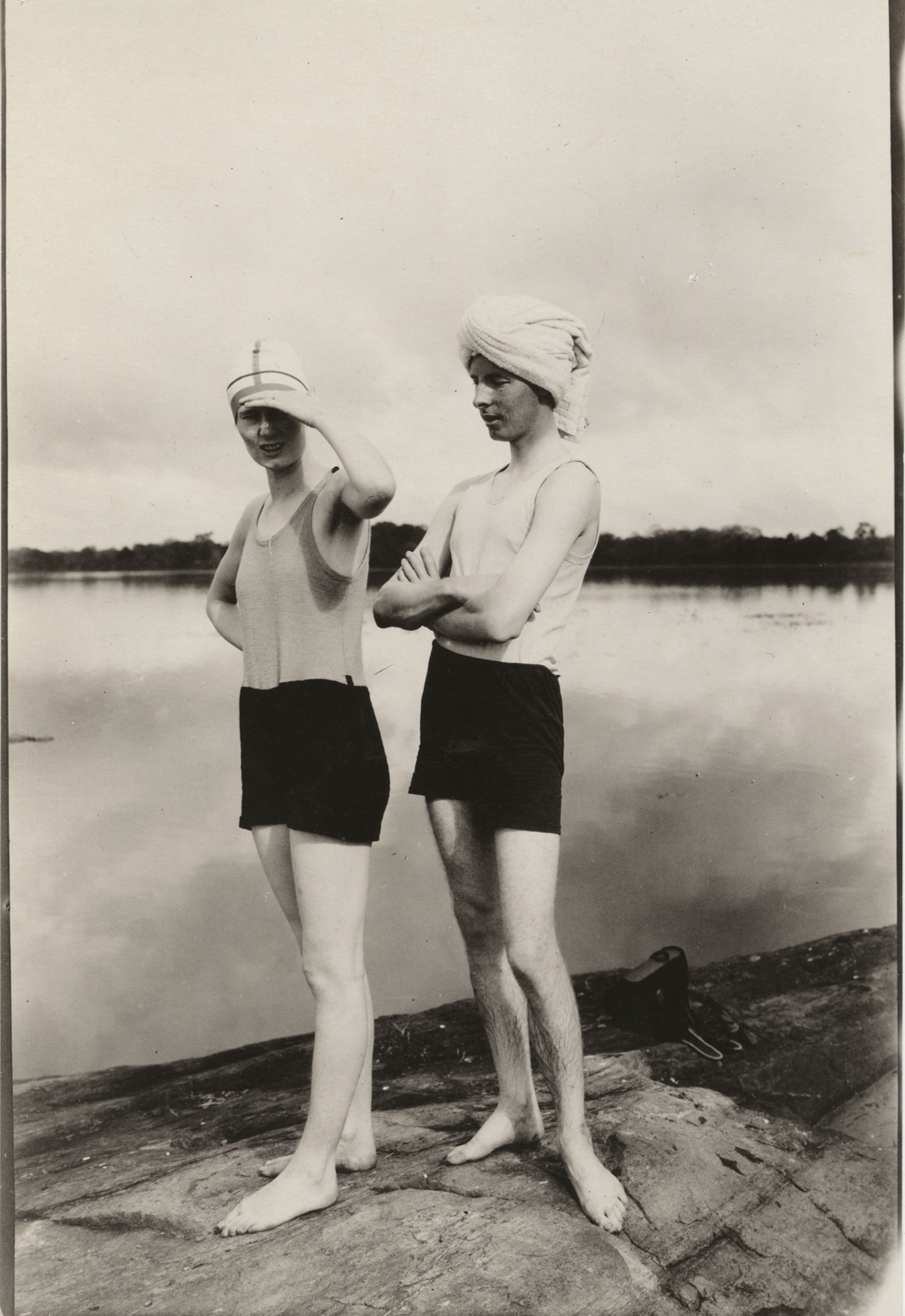 Unidentified couple in swimsuits