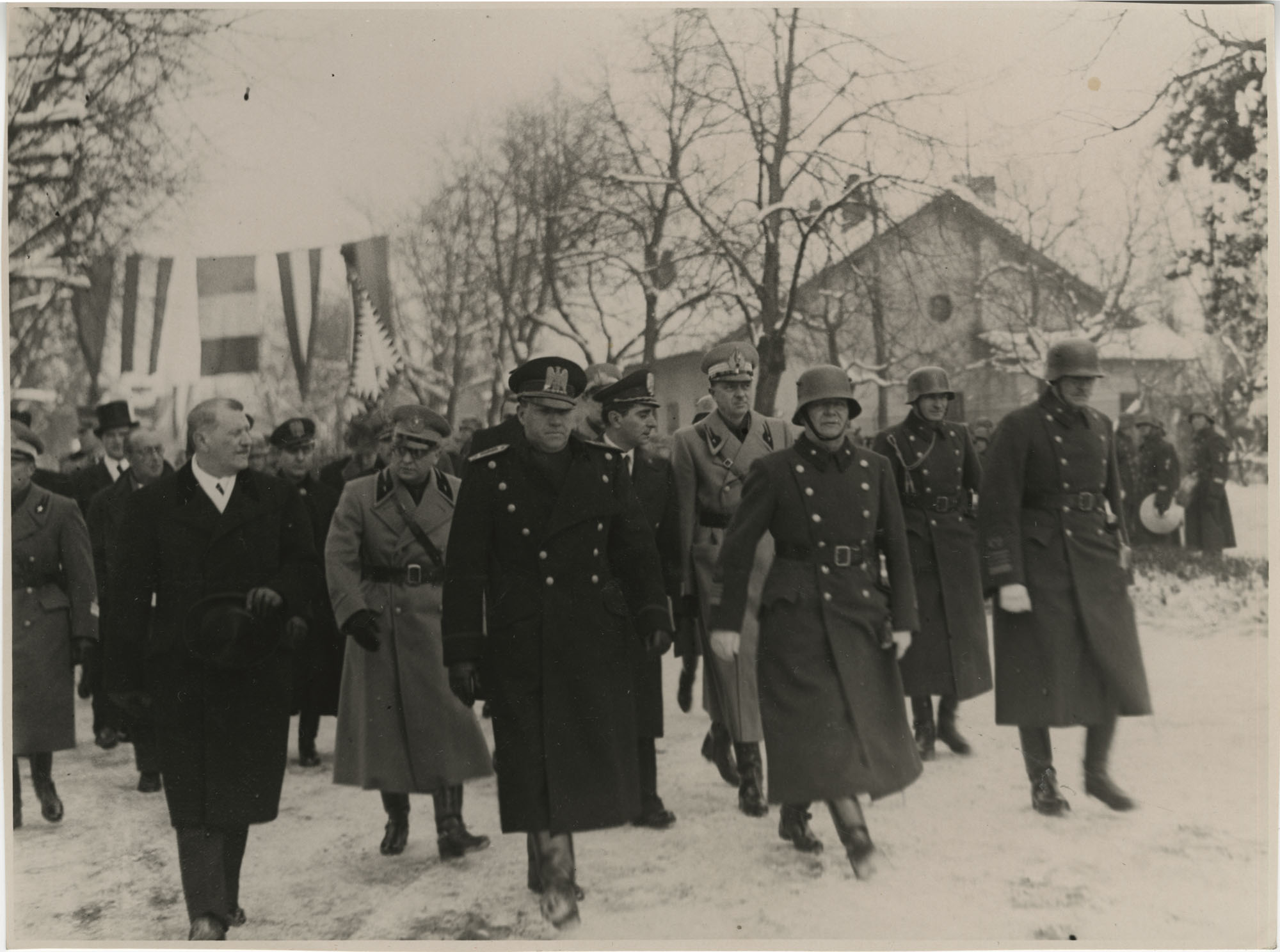 Mario Pansa and military officials in Budapest, Hungary, Photograph 7