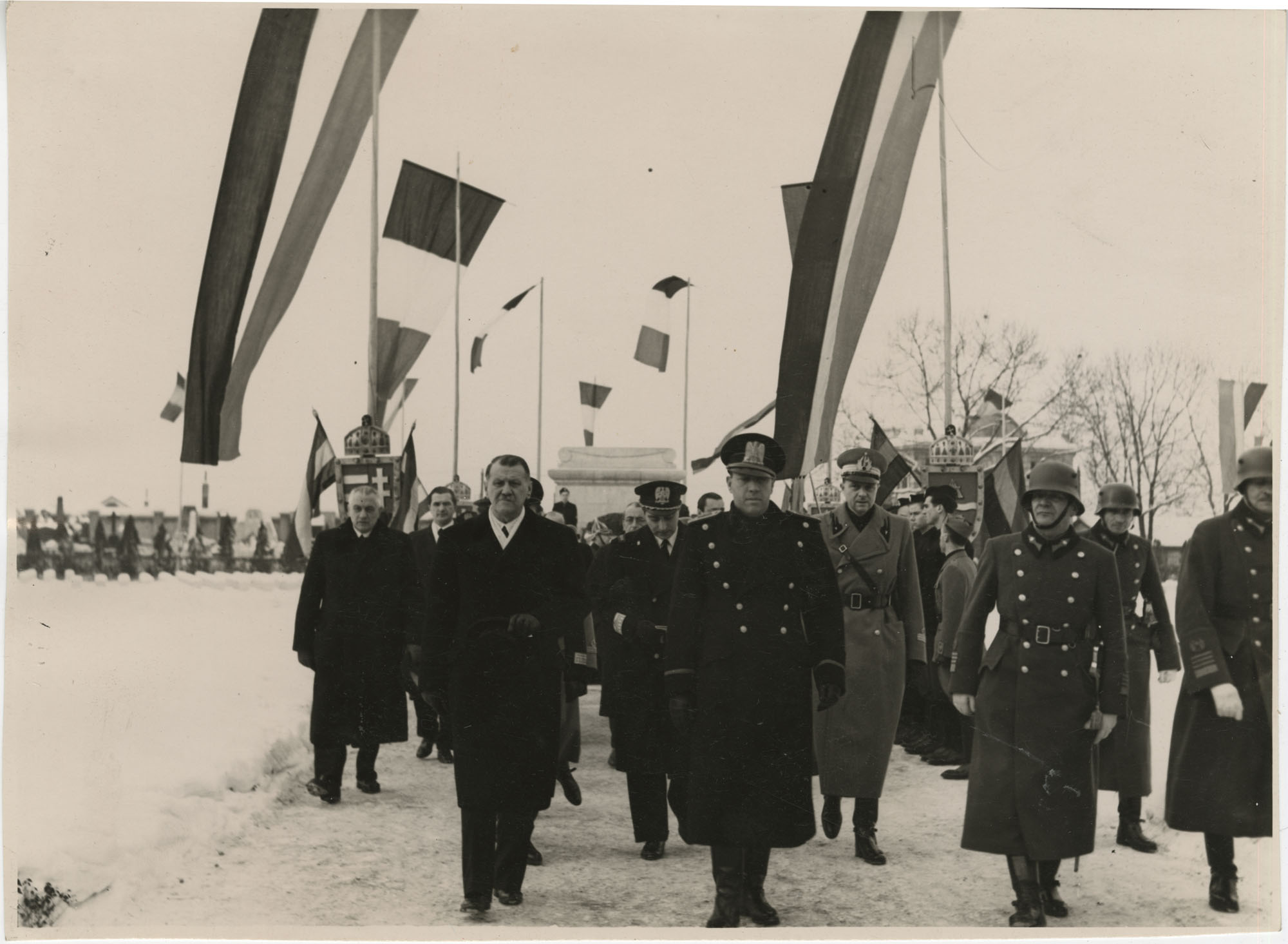 Mario Pansa and military officials in Budapest, Hungary, Photograph 6