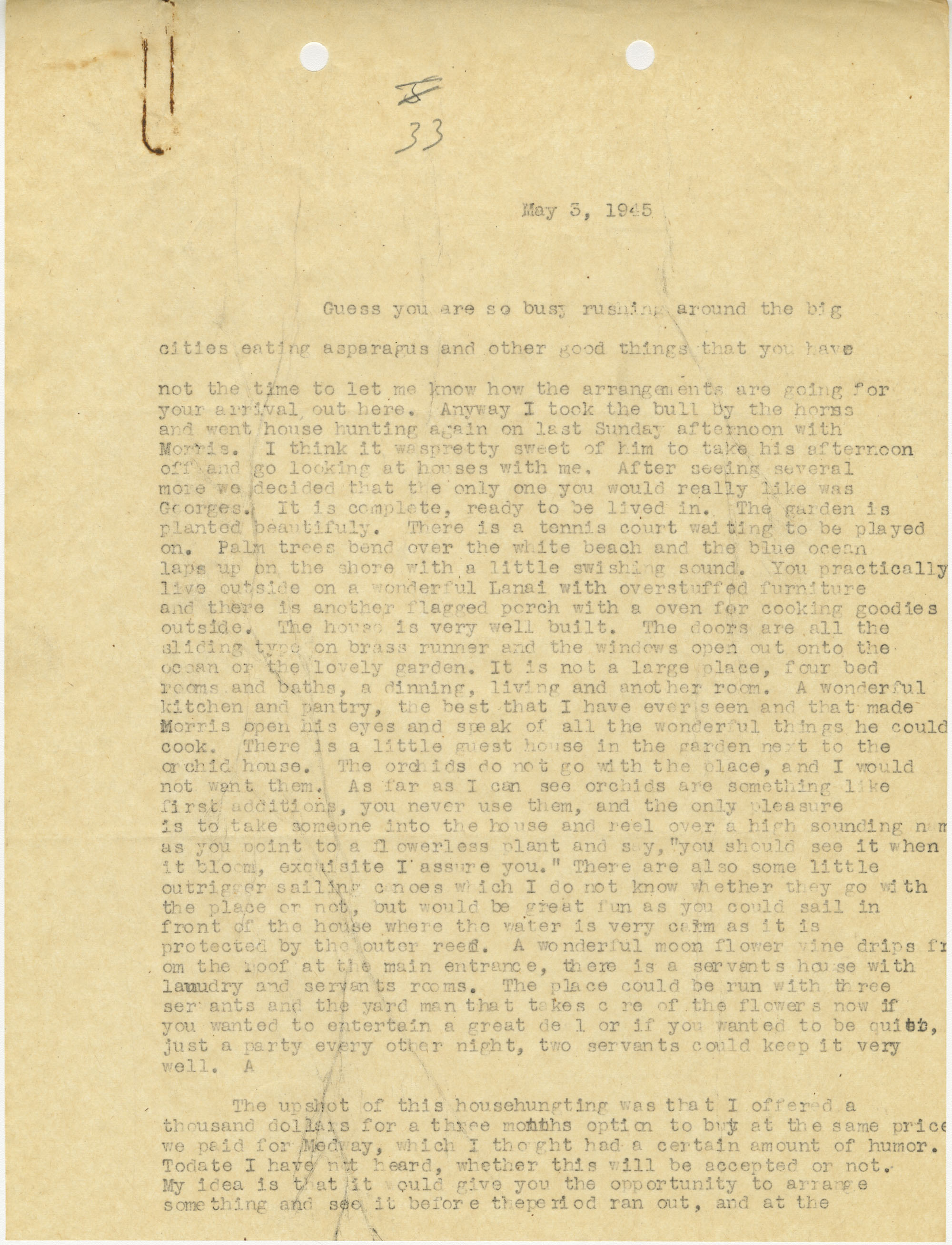 Letter from Sidney Jennings Legendre, May 3, 1945