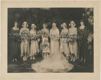 Portrait photograph of Gertrude Legendre and her bridal attendants