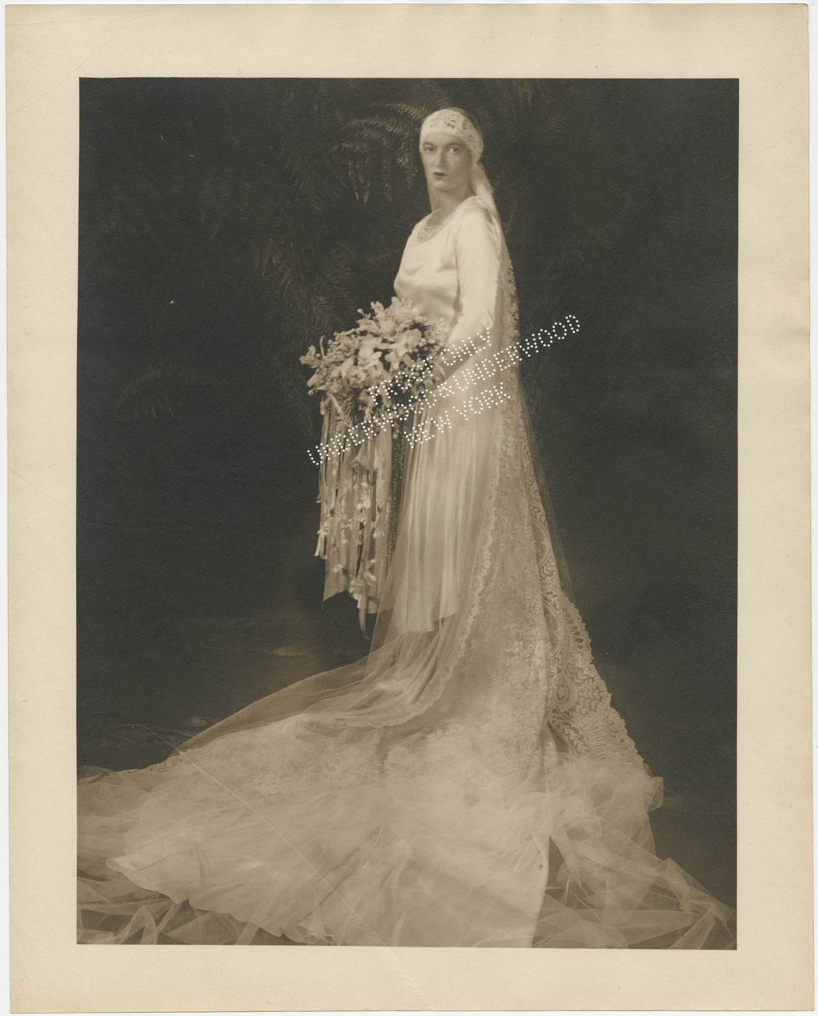 Bridal portrait photograph of Gertrude Legendre
