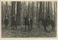 Mario Pansa and unidentified persons astride horses, Photograph 1