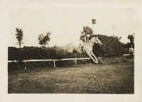 Mario Pansa (assumed) guiding a horse through a jump