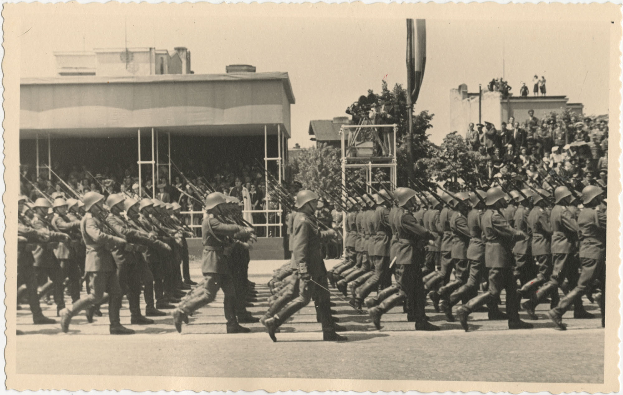 Soldiers marching in a military ceremony