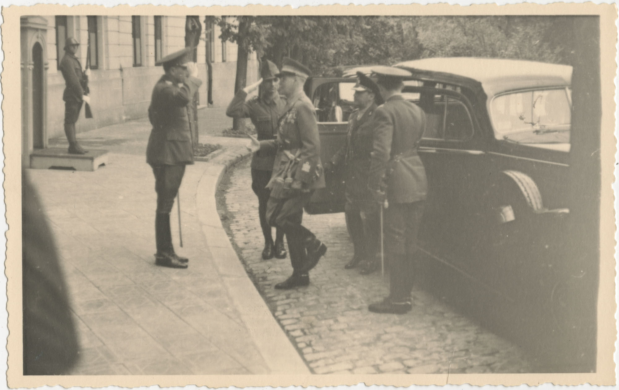 Military officials greeting each other, Photograph 2