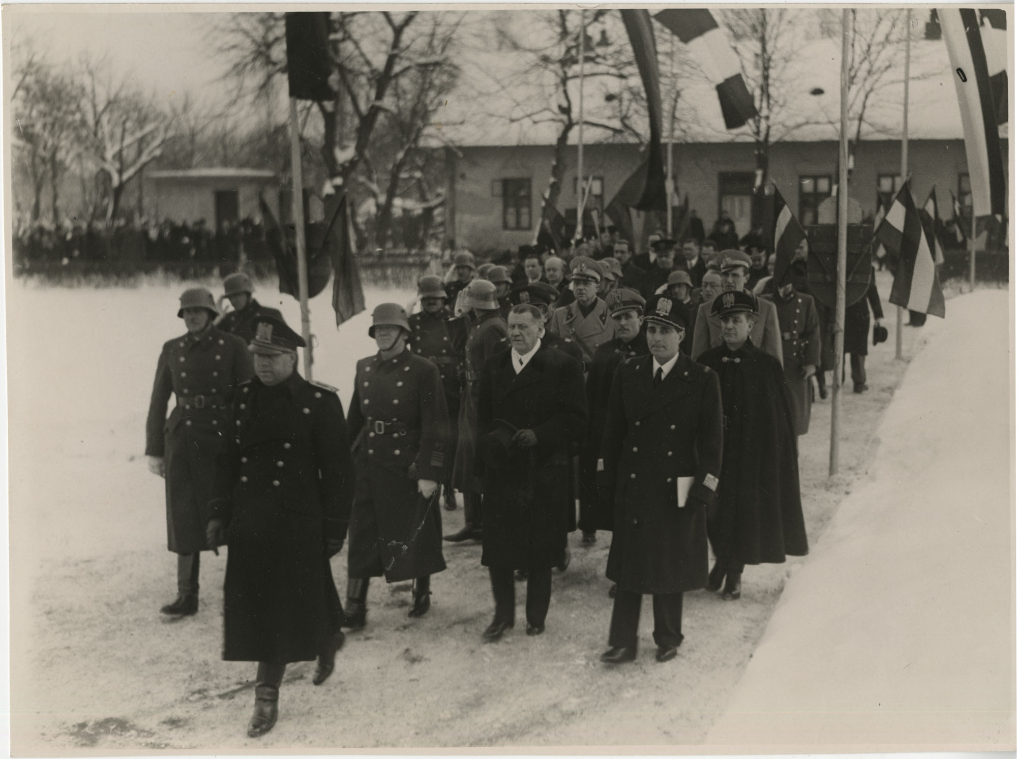 Mario Pansa and military officials in Budapest, Hungary, Photograph 1