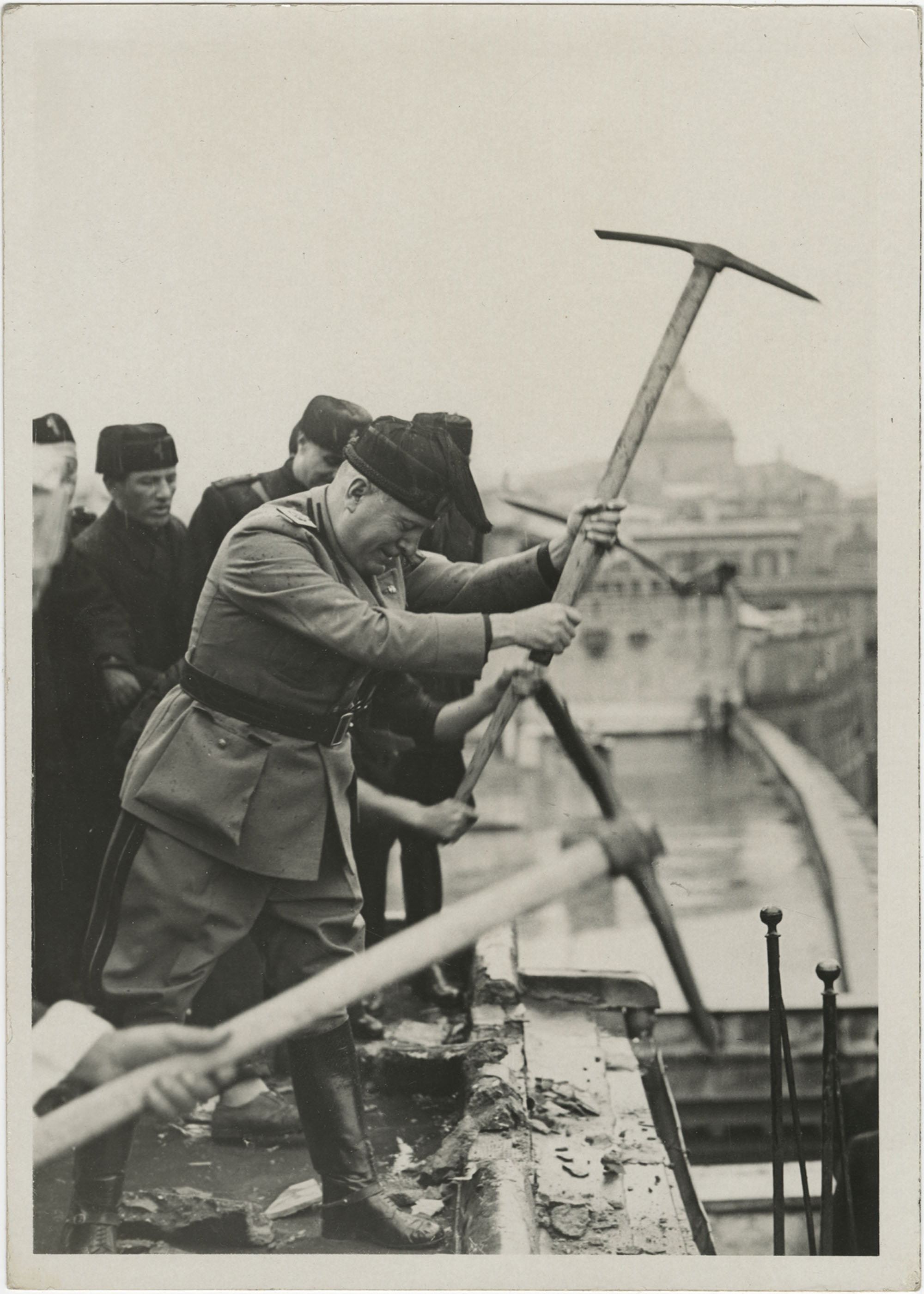 "Benito Mussolini participating in the ground breaking of the ""Course Renaissance"" in Rome, Italy"