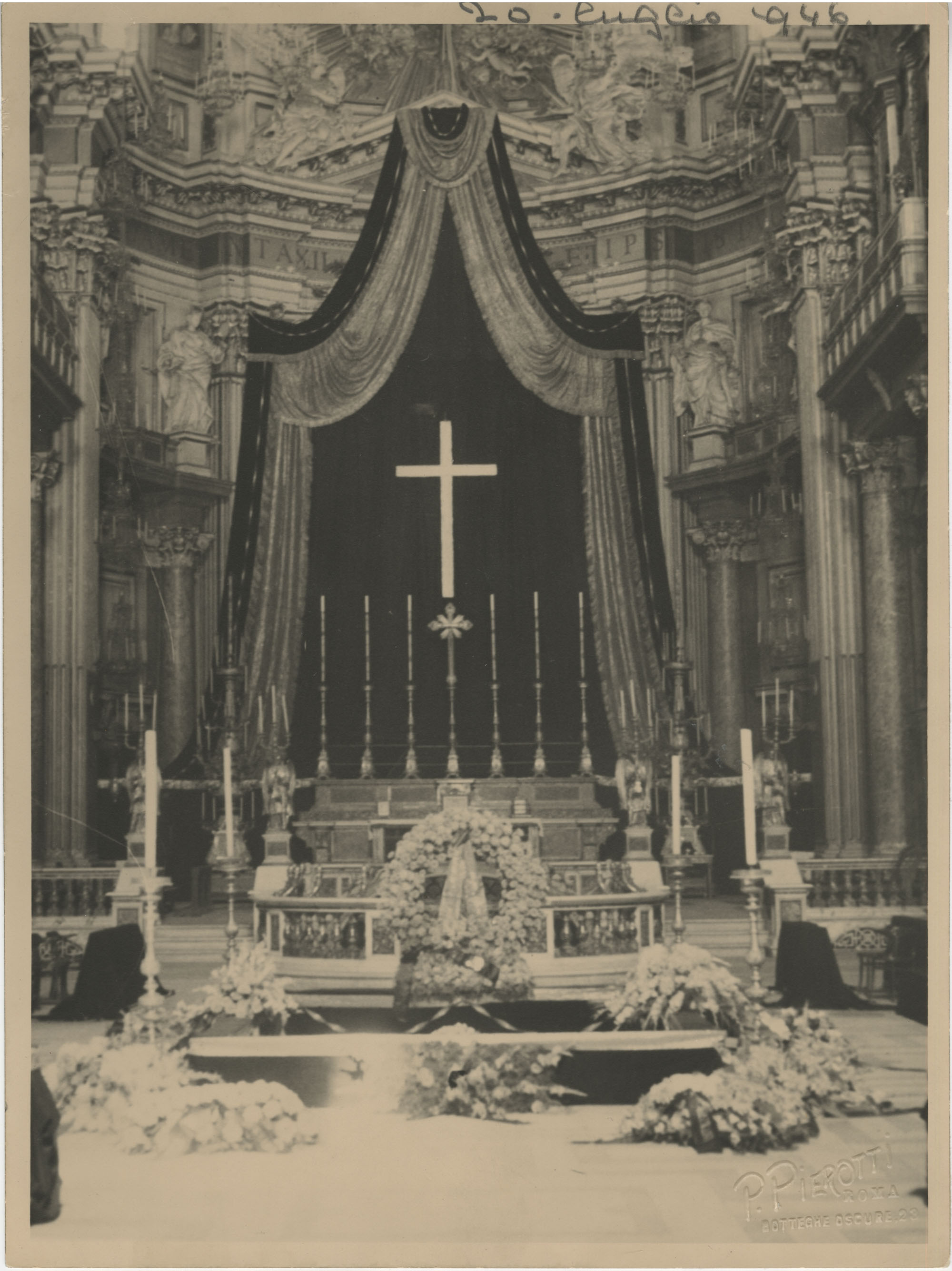 Interior of a cathedral decorated for Mario Pansa's funeral, Photograph 1