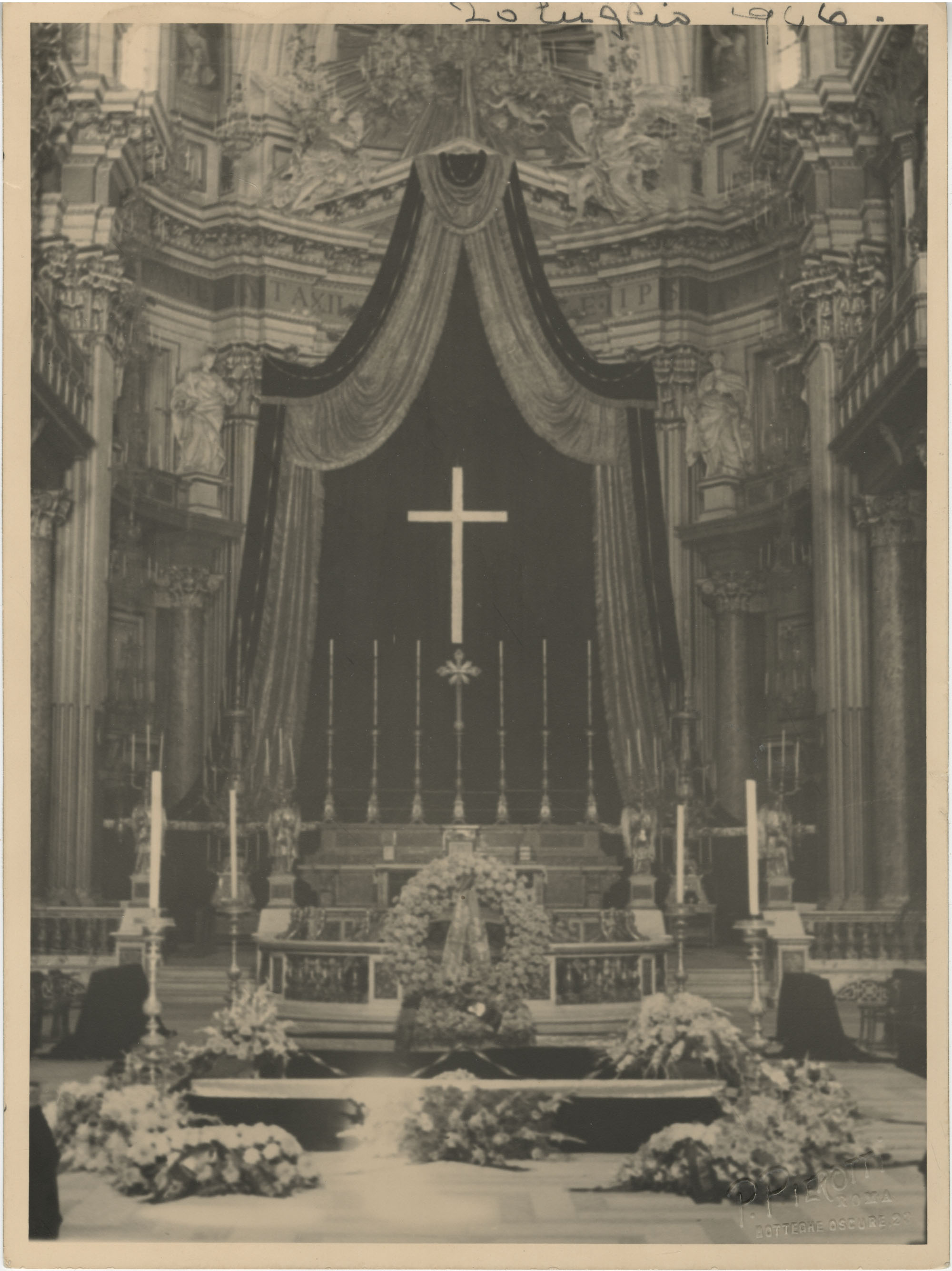 Interior of a cathedral decorated for Mario Pansa's funeral, Photograph 2