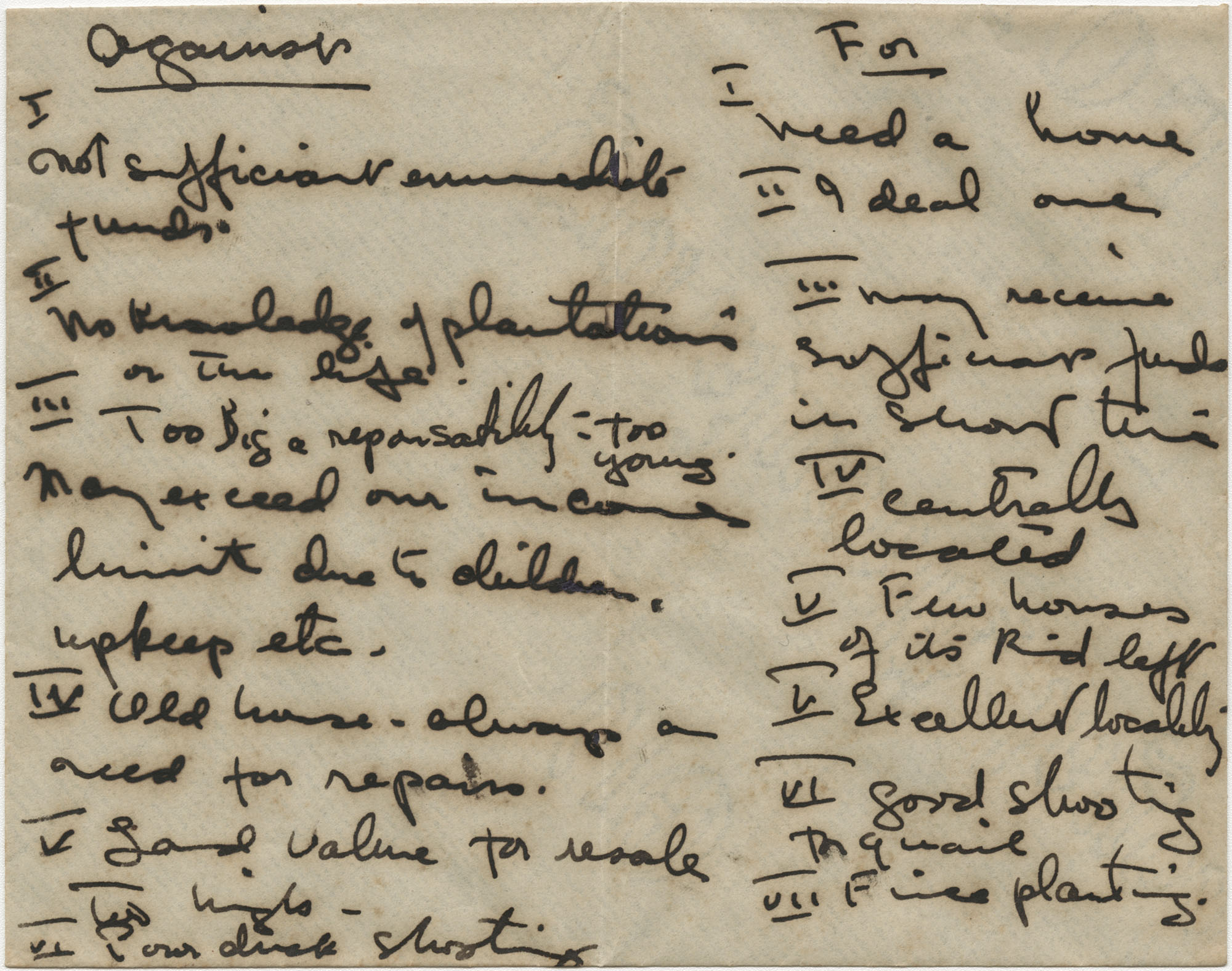 Gertrude Legendre's pro/con list for the purchase of Medway Plantation