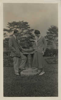 Unidentified couple in a garden