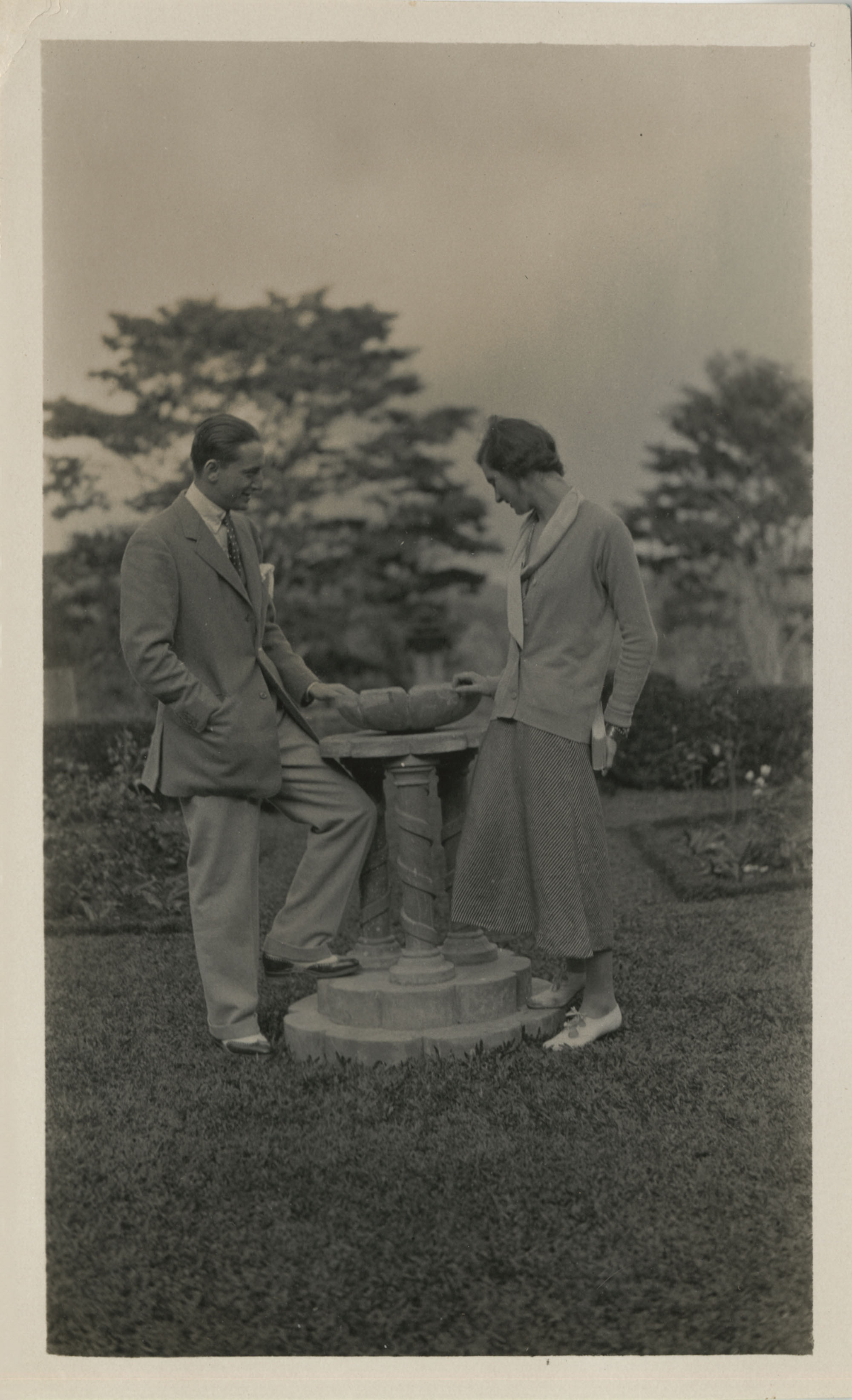 Unidentified couple in a garden