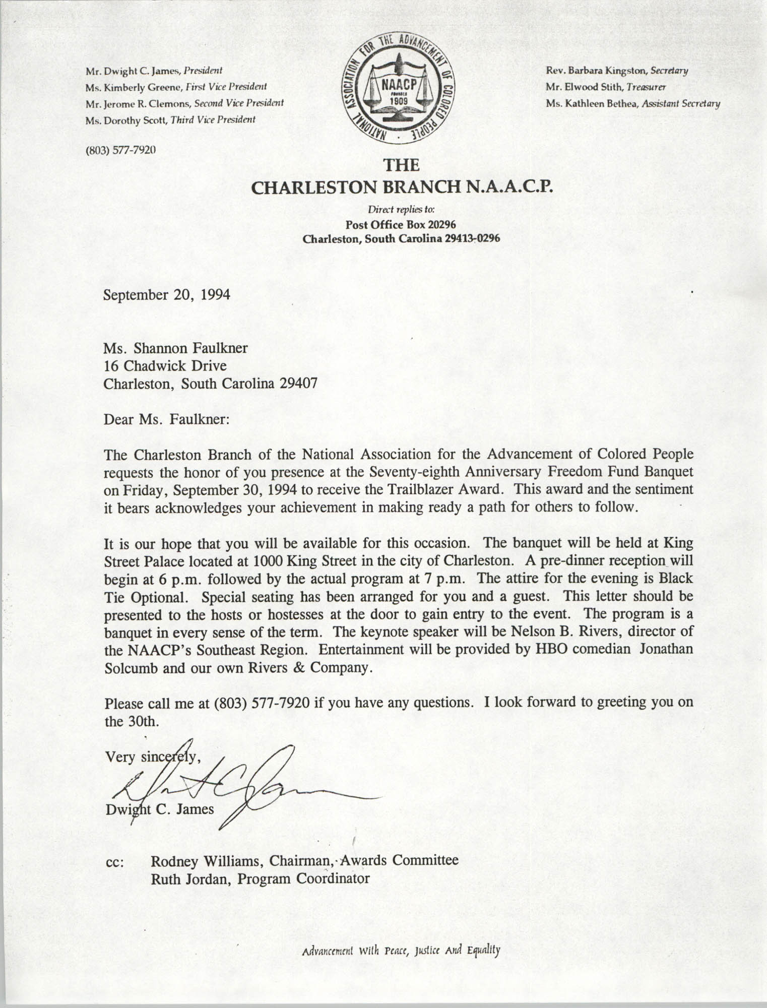 Letter from Dwight C. James to Shannon Faulkner, September 20, 1994