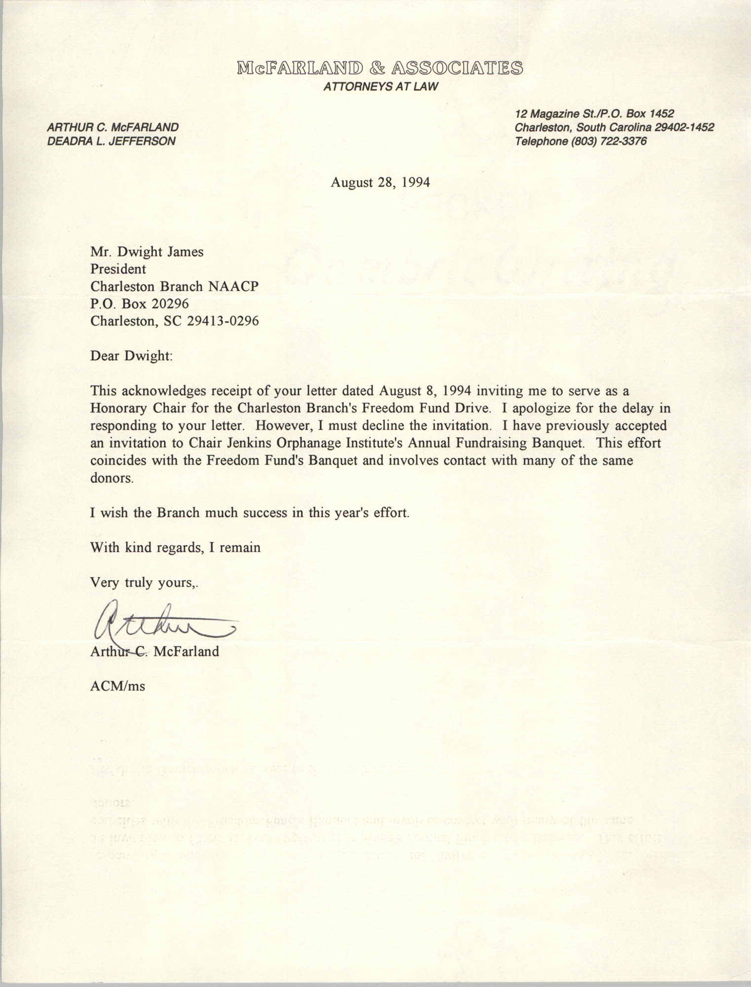 Letter from Arthur C. McFarland to Dwight C. James, August 28, 1994