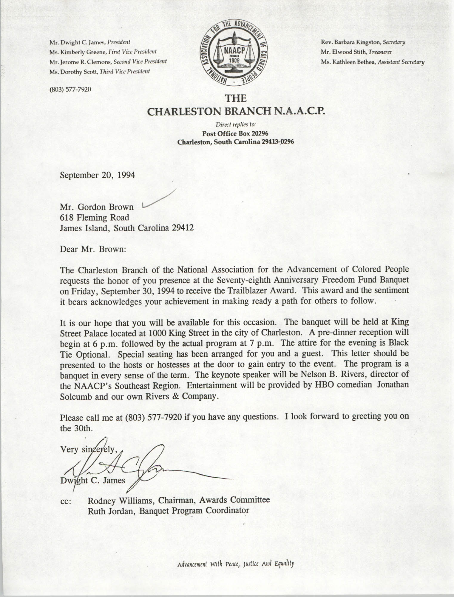 Letter from Dwight C. James to Gordon Brown, September 20, 1994