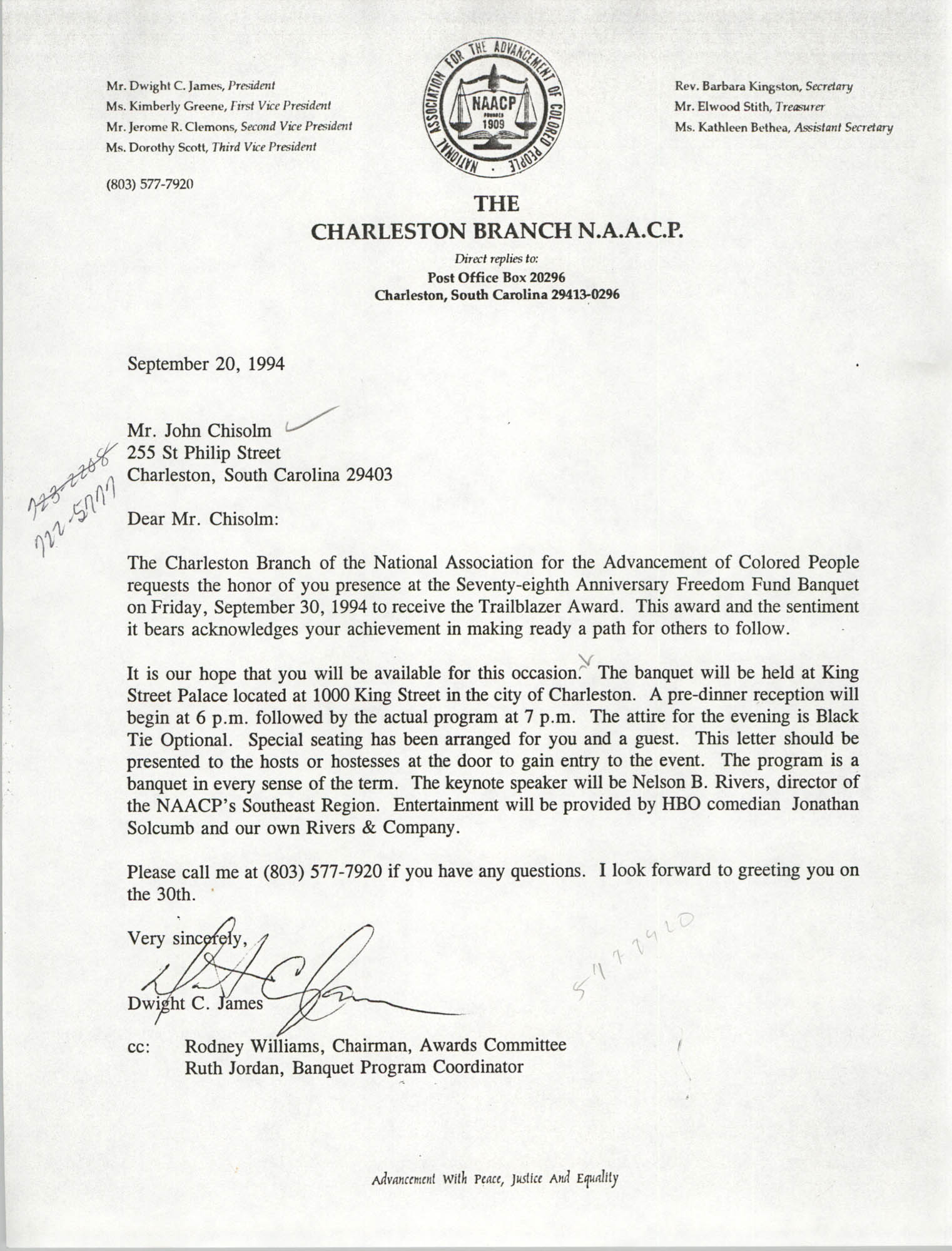 Letter from Dwight C. James to John Chisolm, September 20, 1994