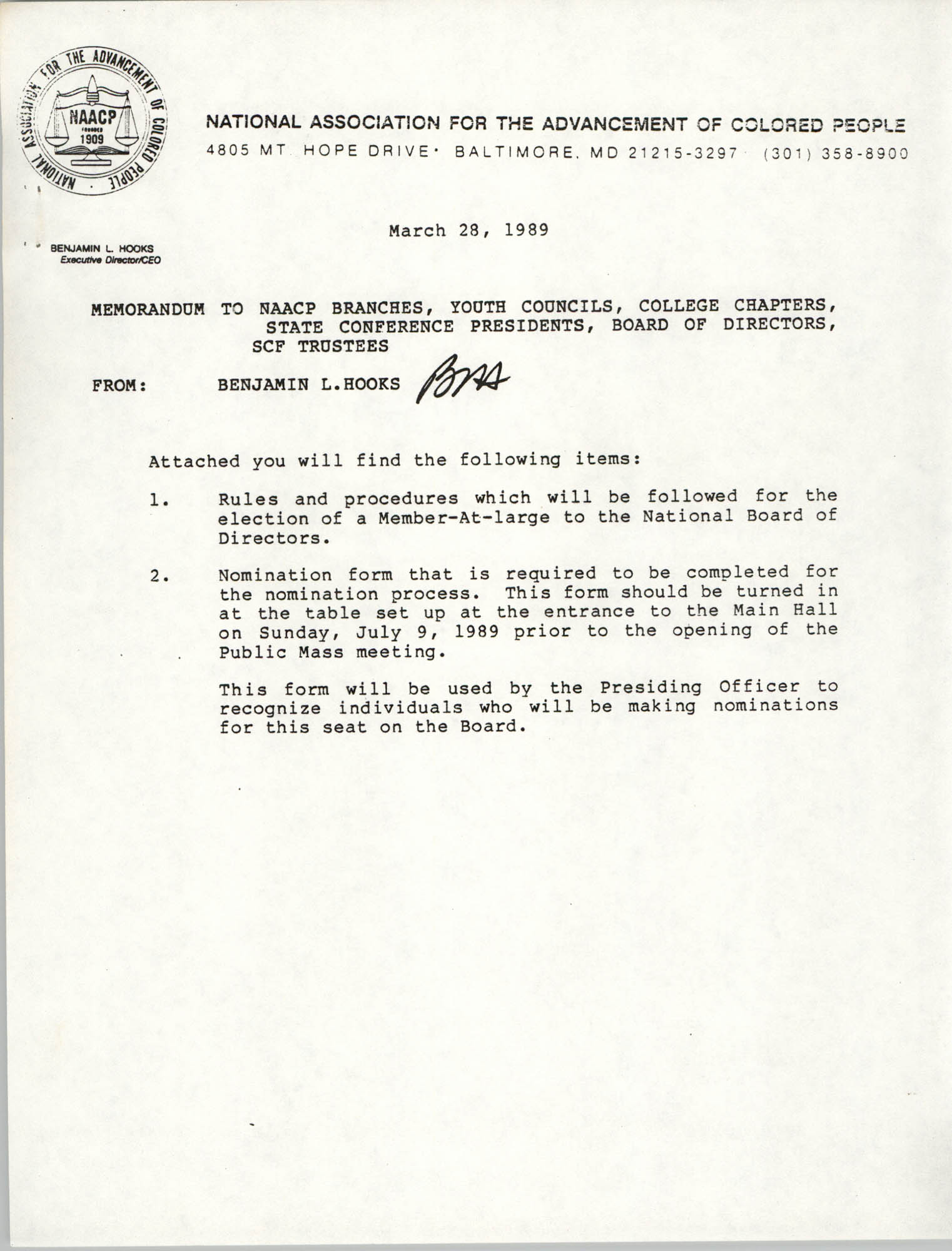 NAACP Memorandum, March 28, 1989