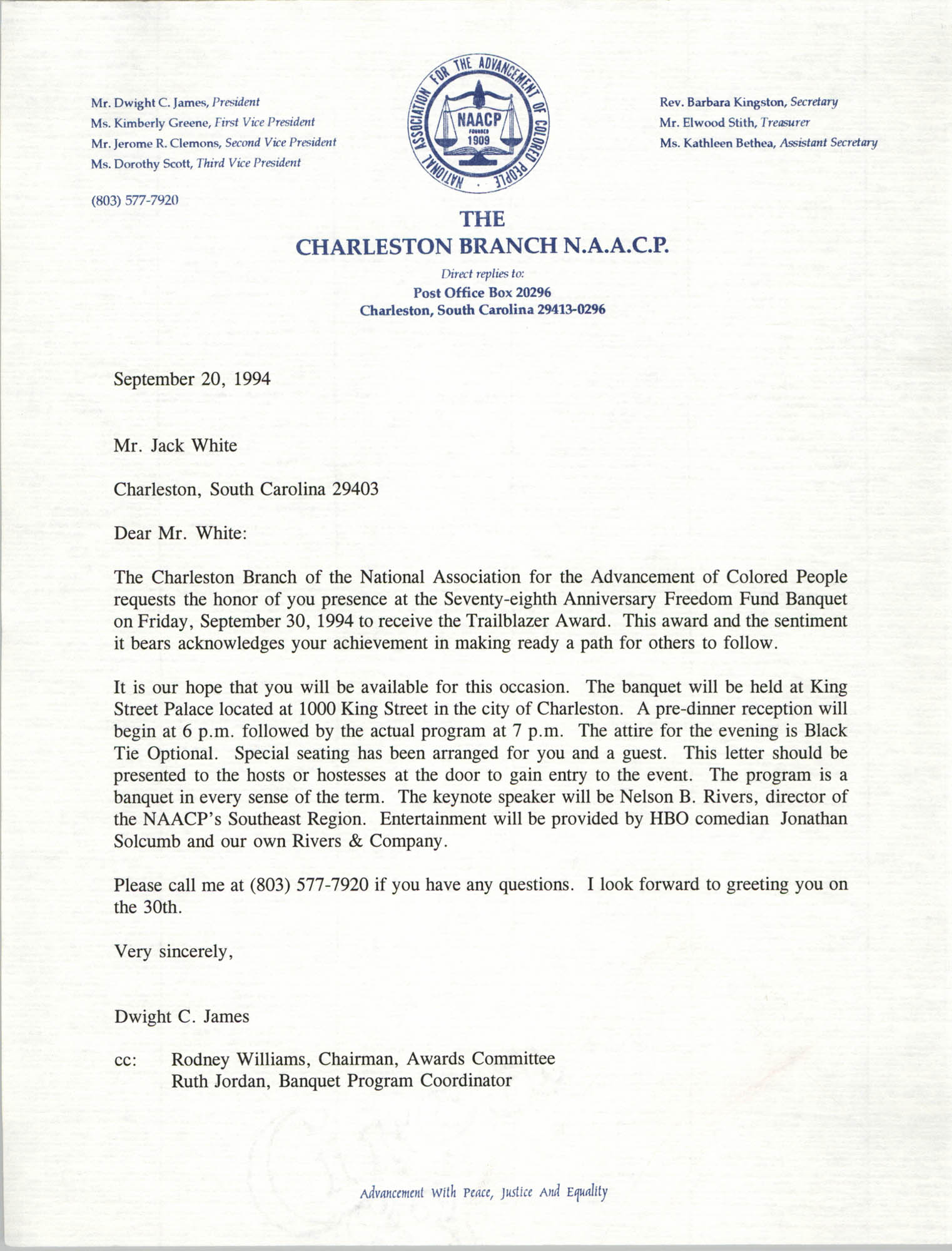 Letter from Dwight C. James to Jack White, September 20, 1994