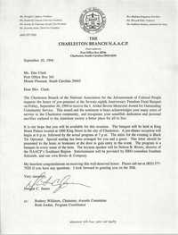 Letter from Dwight C. James to Etta Clark, September 20, 1994