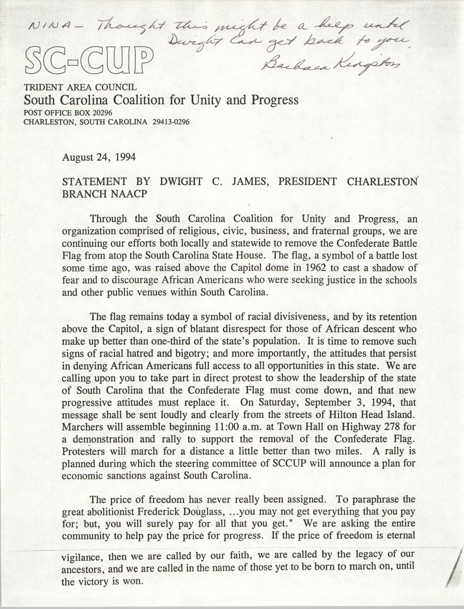 South Carolina Coalition for Unity and Progress Statement, August 24, 1994