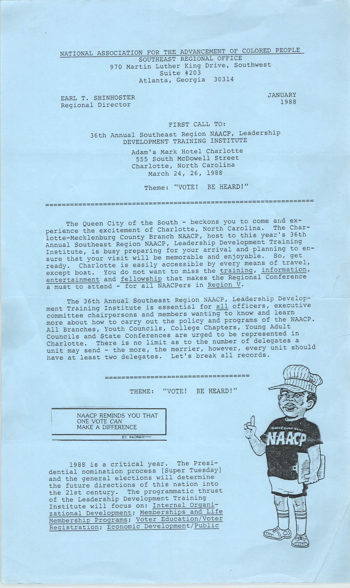 NAACP Southeast Regional Office Newsletter, January 1988