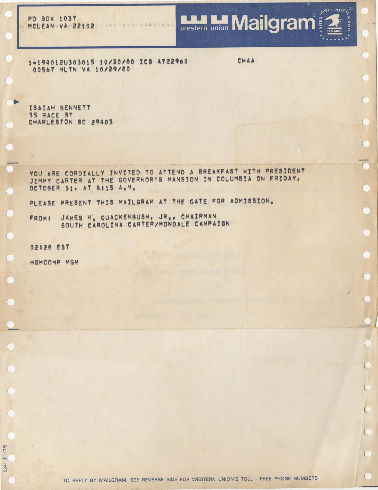 Telegram from James H. Quakenbush, Jr. to Isaiah Bennett, October 29, 1980