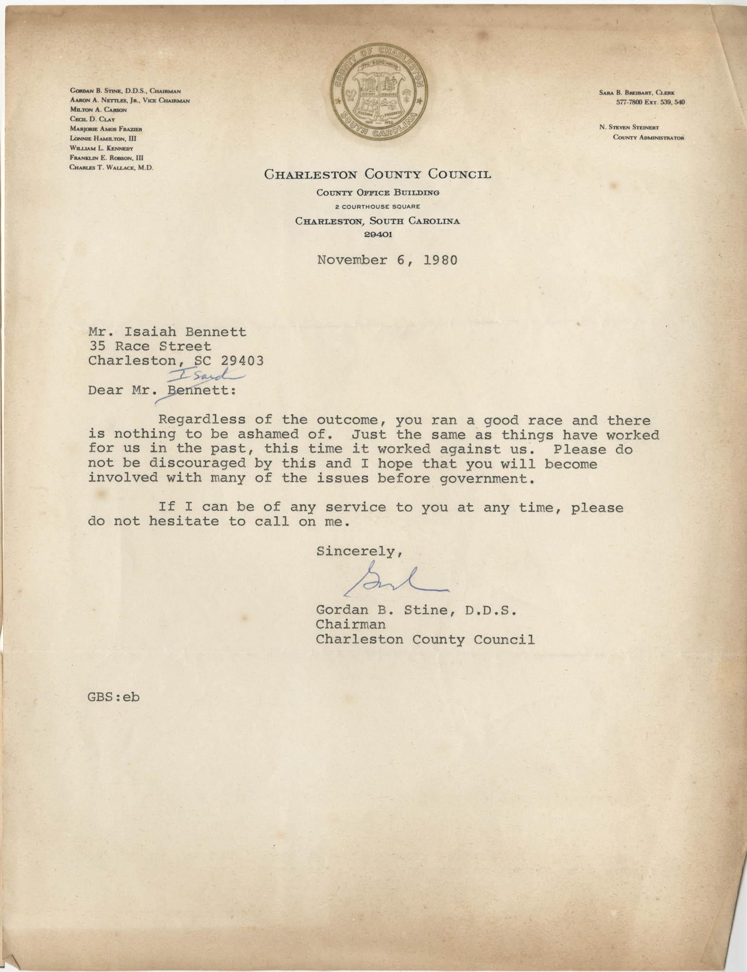 Letter from Gordan B. Stine to Isaiah Bennett, November 6, 1980