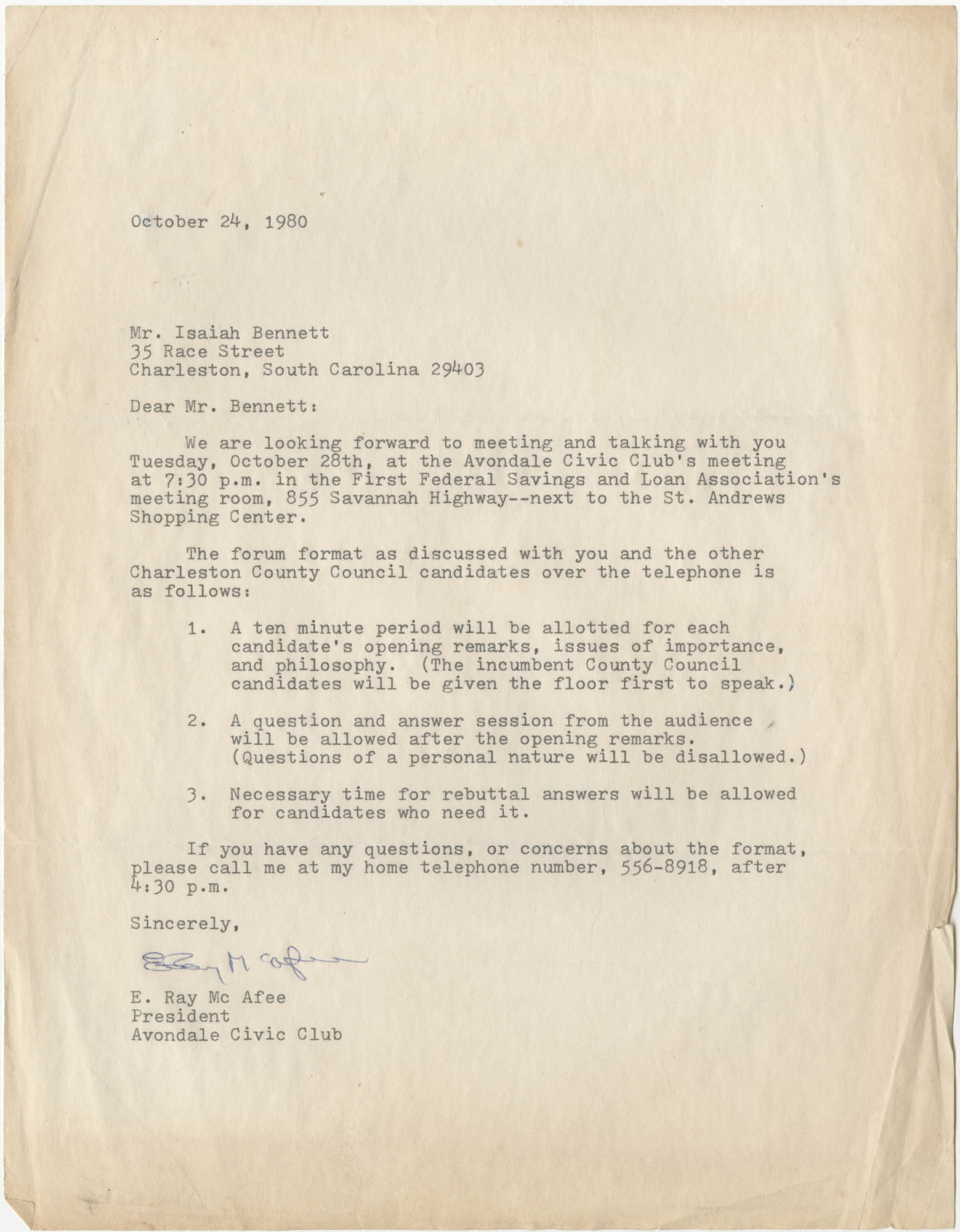 Letter from E. Ray McAfee to Isaiah Bennett, October 24, 1980